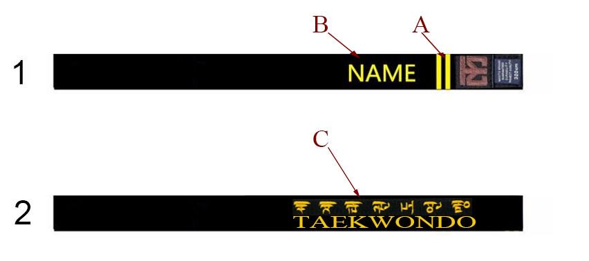 construction rationnelle nombreux dans la variété acheter mieux Ceinture de Taekwondo Brodée Noire Personnalisée, MOOTO ...