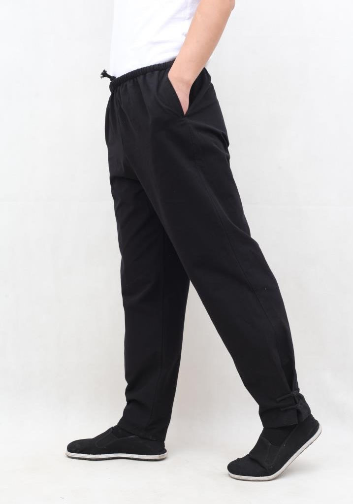 Black Coarse cotton pants Ru Yi