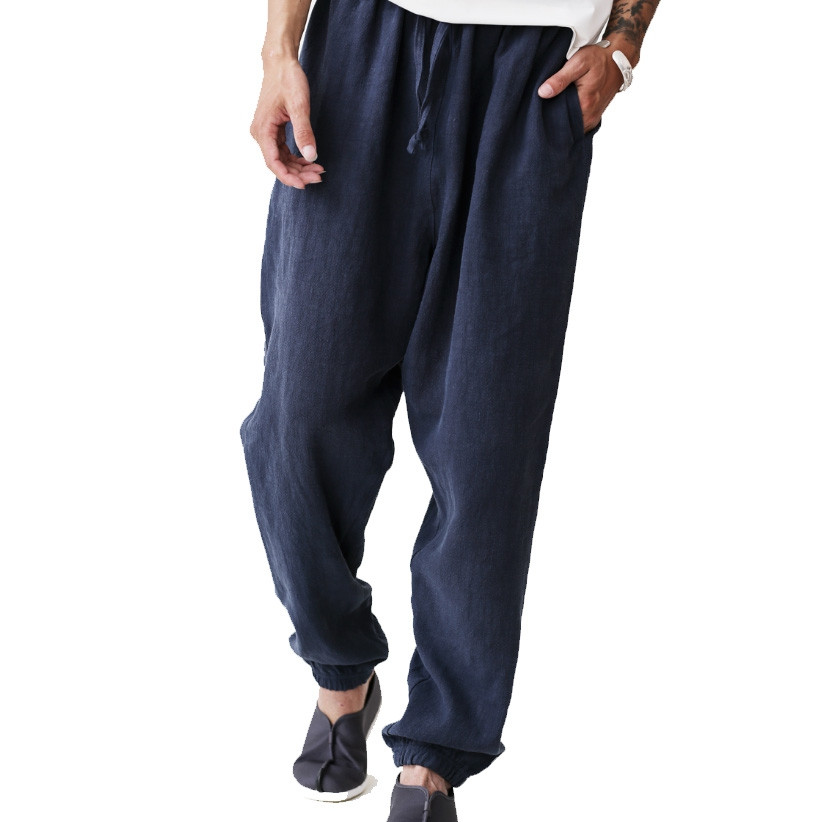 Doube layers Pure natural linen and cotton Casual Pants for Autumn