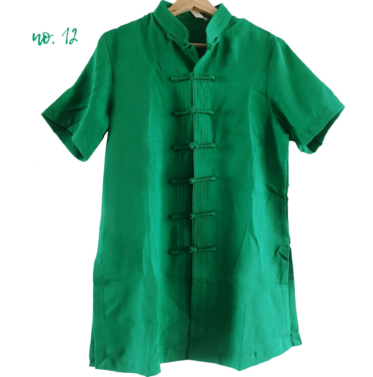 [DESTOCK] Short Sleeves Linen Tai Chi / Chang Quan Kung Fu Top Green 165cm
