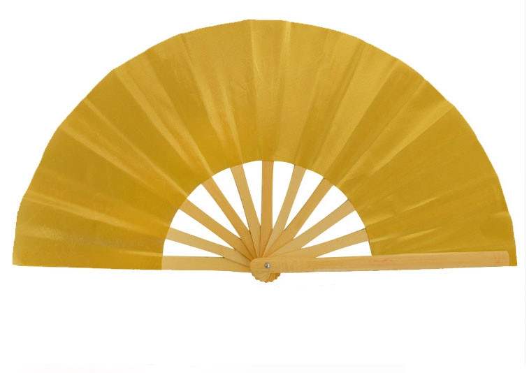 TAI CHI Fan for KIDS, 11 Bamboo Bones , Uni-Color Golden