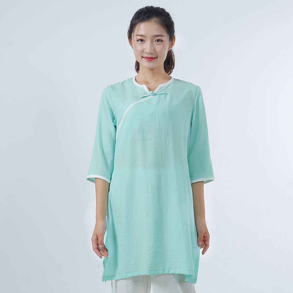 Linen and Natural Silk Meditation Robe, Lotus Leaf