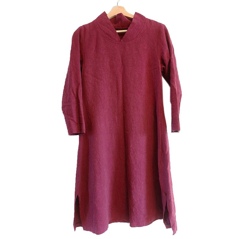 [ DESTOCK ] Women's Linen long sleeve dress 160cm/5'3''