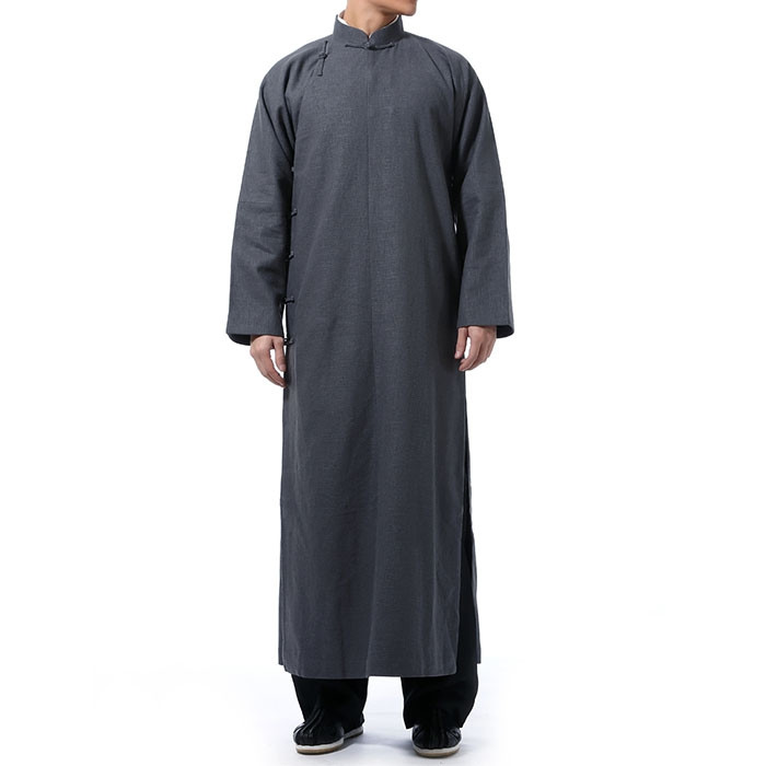 Natural Linen Traditional Chinese Long Robe, Chang Shan, IP Man Kung Fu robe