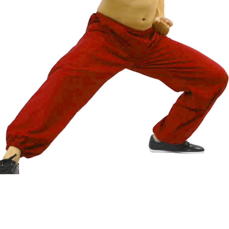 [DESTOCK] Light linen Kung Fu Tai chi pants Red 180cm