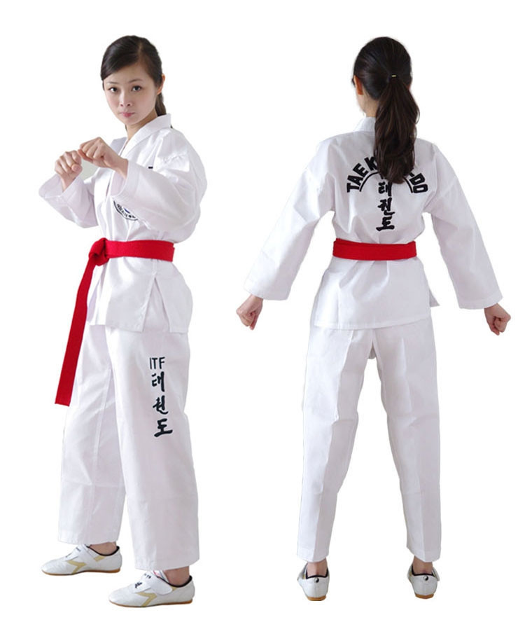 ITF Embroidery TaeKwonDo DoBok White TKD Uniform