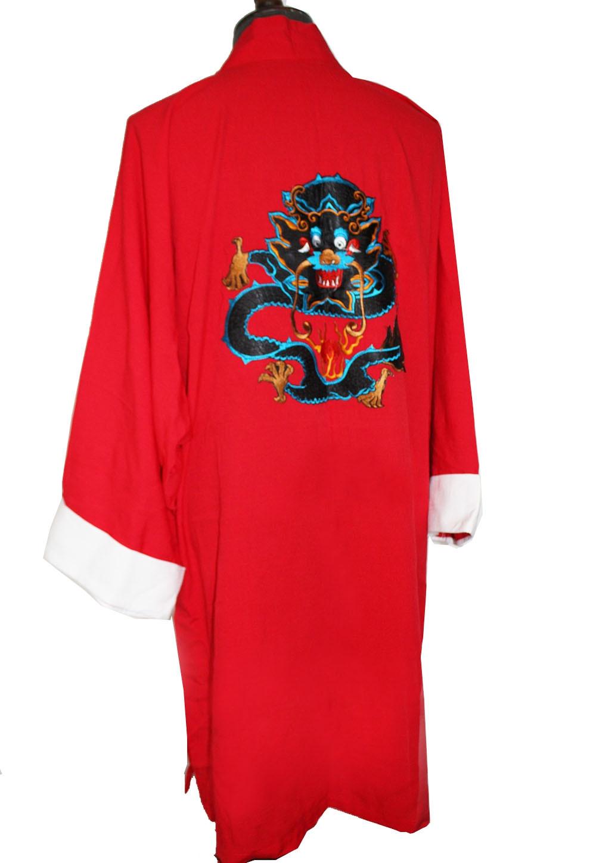 Light  Long Coat Dragon Embroidery V Collar