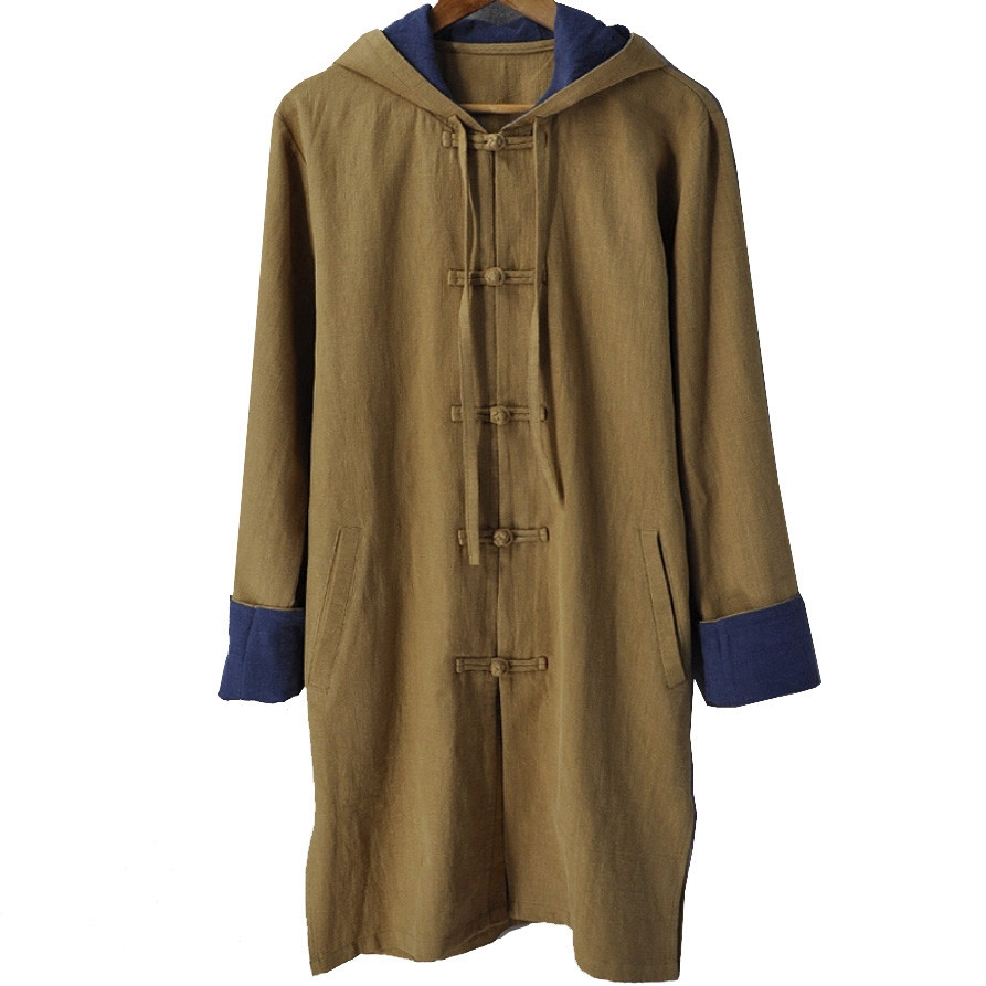 Medium thick linen chinese Hooded Coat