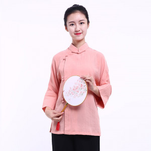 Chinese Woman Blouse - Spring Peach Flower