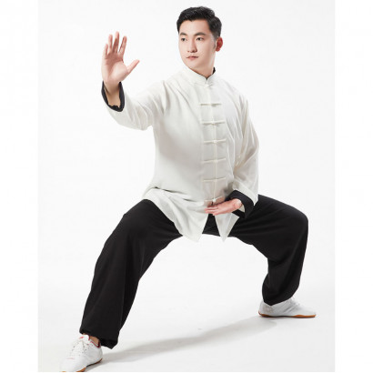 Classic Kung Fu Uniform, extensible linen Black and white