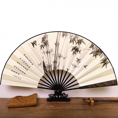 Chinese Traditional Paper Fan, bamboo in the breeze