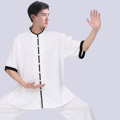 Personalized Short Sleeves Linen Tai Chi / Chang Quan Kung Fu Top, Uniform