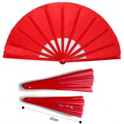 TAI CHI Fan for KIDS, 11 Red Bamboo Bones 10.6in, Uni-Color Red