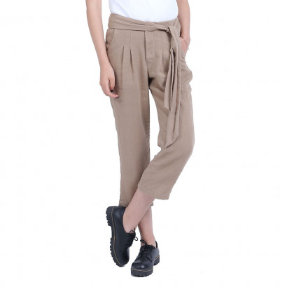 Woman Linen and Natural Silk Casual Pants