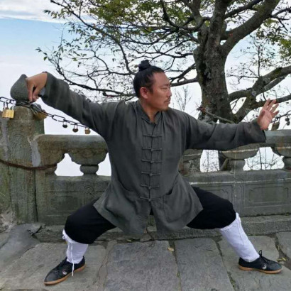 Wudang Taoist Central closing Costume + Sleeveless Overcoat