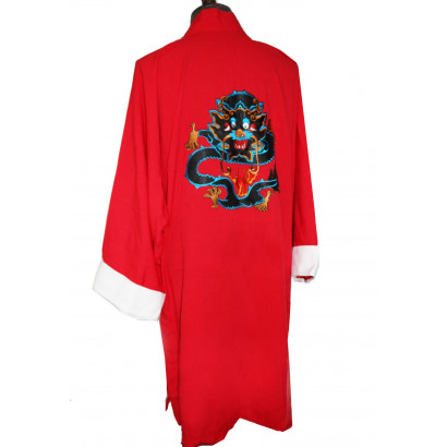Light  Long Coat Dragon Embroidery V Collar