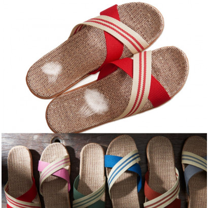 Linen Zoori Straw Sandals, Child