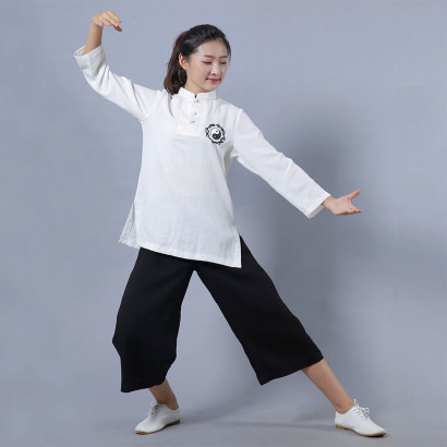 Yin Yang Embroidery Chinese Traditional Uniform for Summer