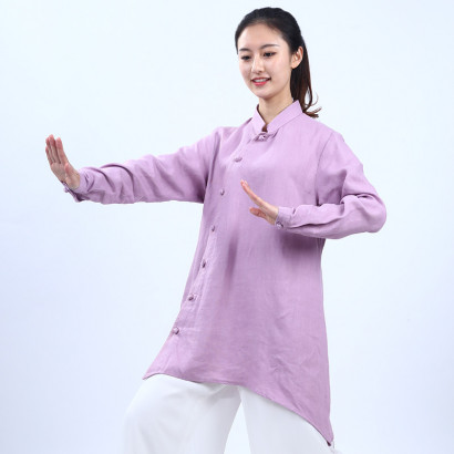 Pure linen Tai Chi, Qi Gong Jacket, Mid-Long & Irregular Bottom