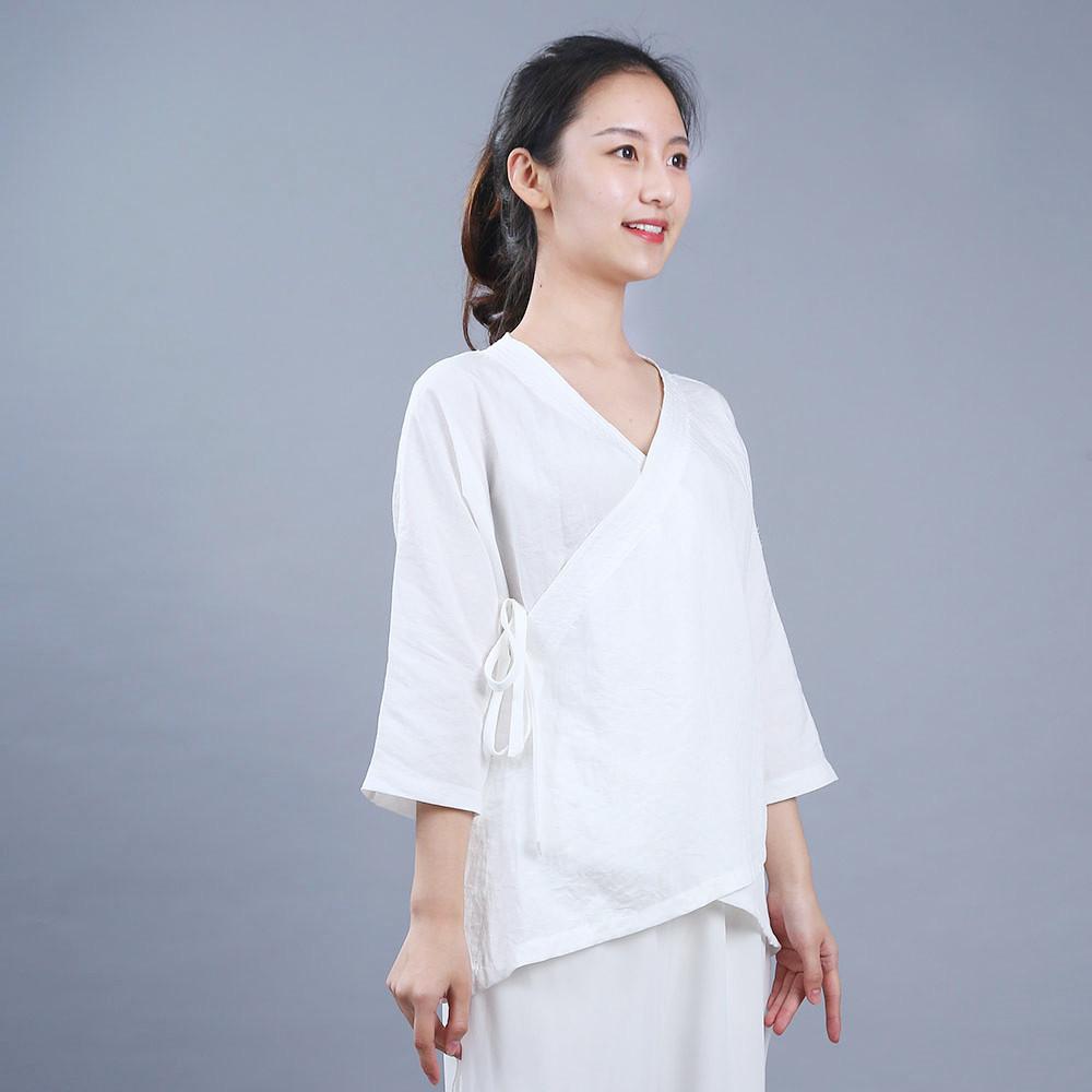 Veste Qi Méditation Gong Coton Lin Femme En De Et Tenues ExXwErq