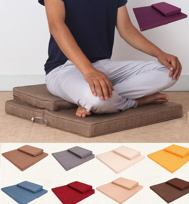 Coussin et tapis de méditation rempli de fibres naturelles de coco