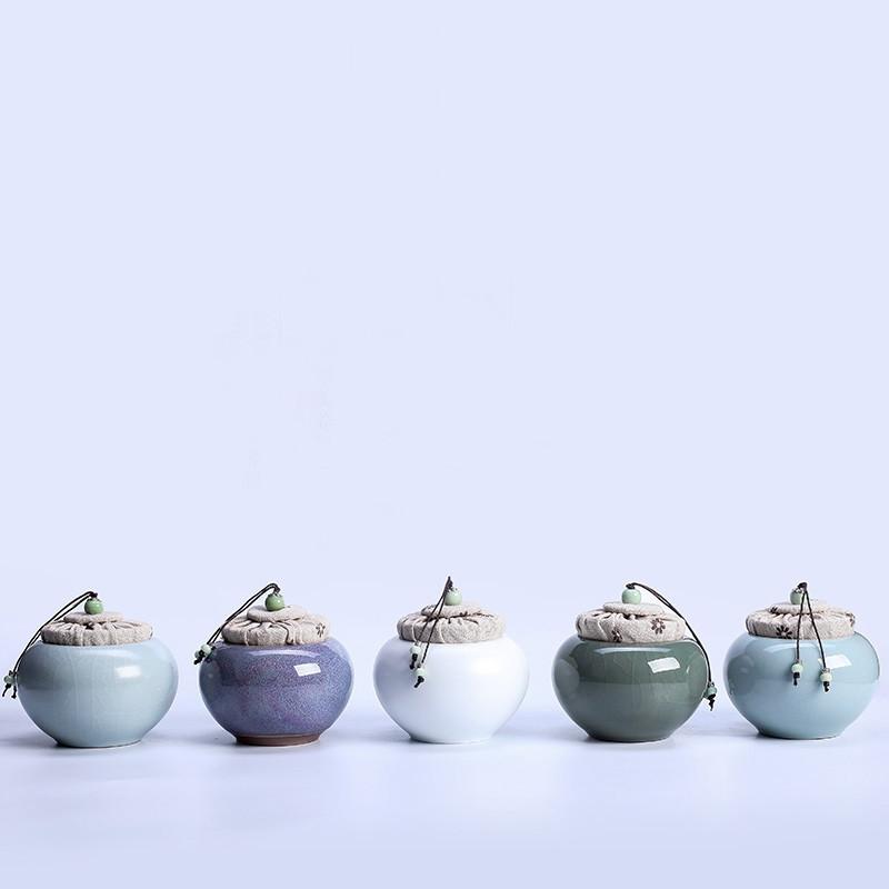 Pot de stockage de thé en céladon céramique - Wu Cai Shi