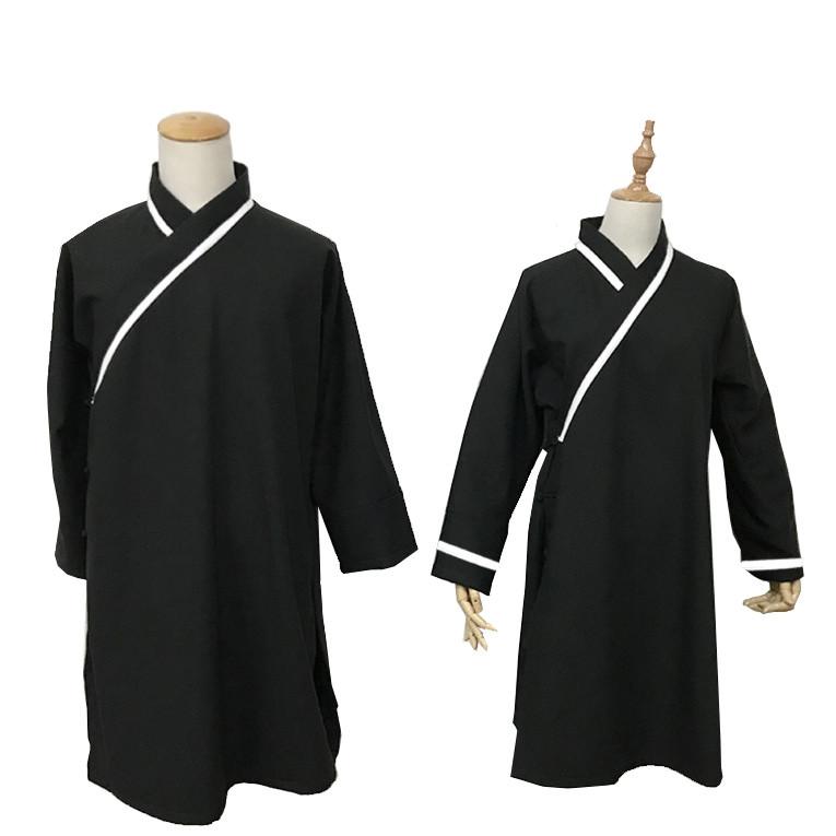 Tenue traditionnelle de Wudang, noir avec lignes blanches