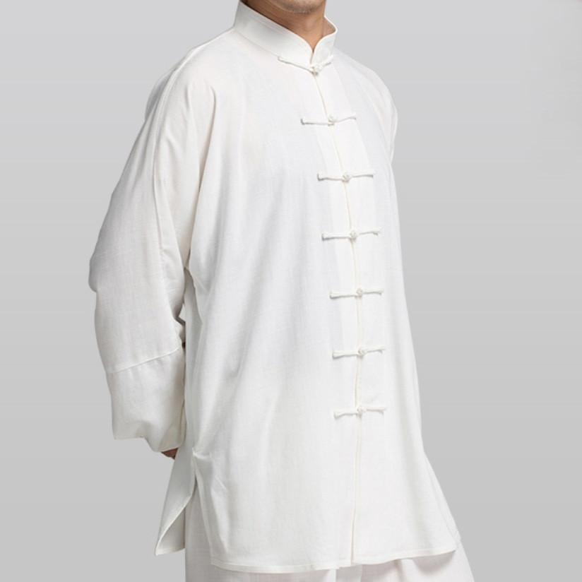 [DESTOCK] Veste Tai Chi Kung Fu en coton et soie imitation blanc XL