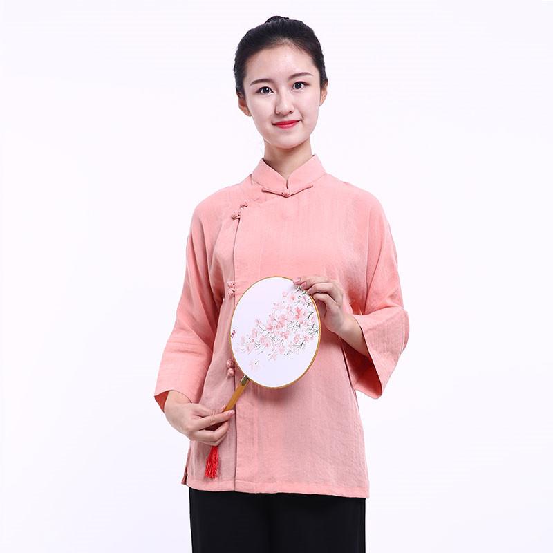 Veste chinoise femme - Fleur de pêche au printemps