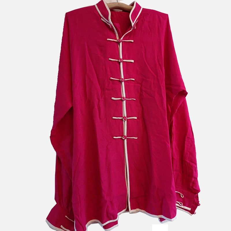 [DESTOCK] Tai Chi Kung Fu jacket brocade light cotton Rose red 170cm