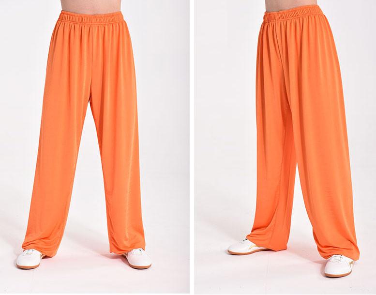 Pantalon Shaolin Kung Fu Tissu Sportif Séchage rapide, Orange
