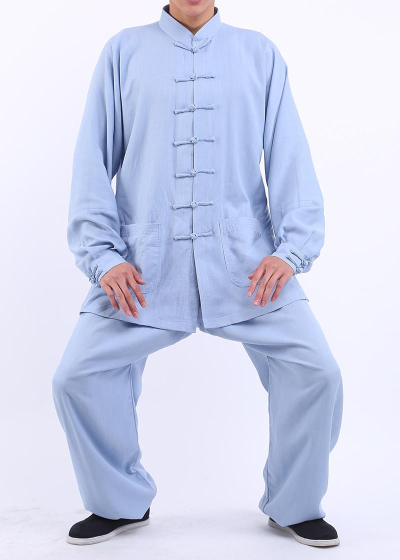 [DESTOCK] Tenue Tai Chi / Kung Fu en lin BLEU 180 cm