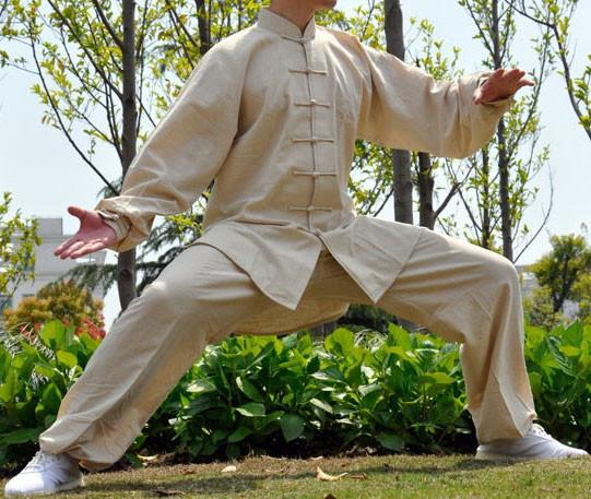 [DESTOCK] Tenue Tai Chi / Kung Fu en lin couleur beige S/160 cm