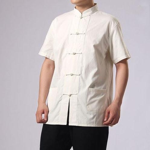 [ Soldes été ] Veste Kung Fu manches courtes en coton épais naturel