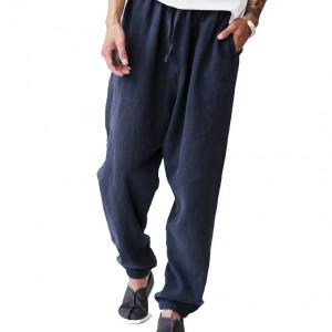 Pantalon décontracté pour l'automne, lin et coton naturels, double couches