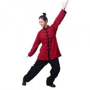 Tenue Tai Chi / Kung Fu classique rouge et noir en lin personnalisée