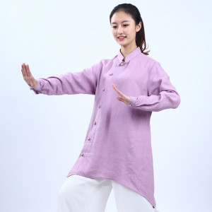 Veste Tai Chi, Qi Gong pure lin, mi-longue& bas irrégulier