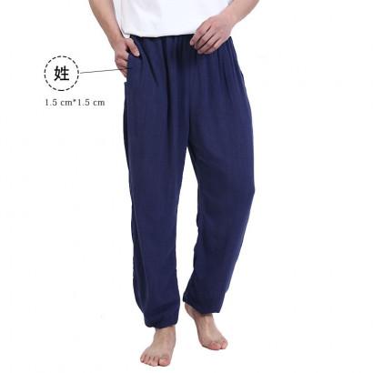 Pantalon homme nom brodé décontracté pour l'été avec grandes poches