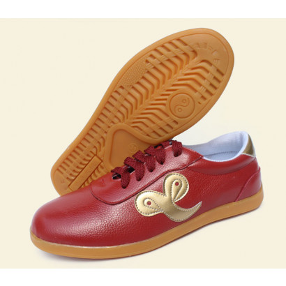 Chaussures Tai Chi cuir «Nuage de bon augure dorée»