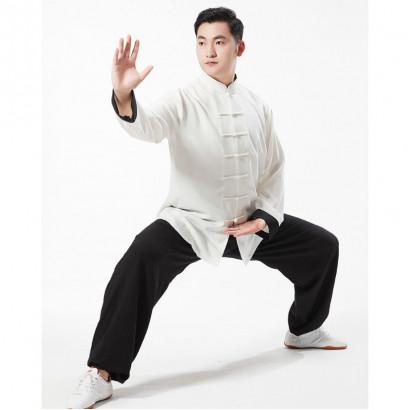 Tenue Kung Fu classique en lin extensible Blanc et Noir