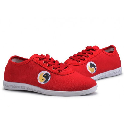 Chaussures Tai Chi Kung Fu Wulin No.1 en toile ROUGE