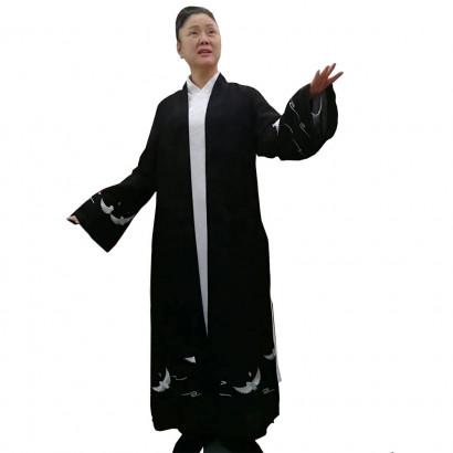 Manteau long de printemps fin Grues, He Yun