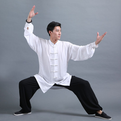 Tenue Classique Tai Chi Kung Fu blanc et noir
