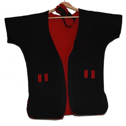 Veste réversible de Shuai Jiao noir et rouge, coton épais