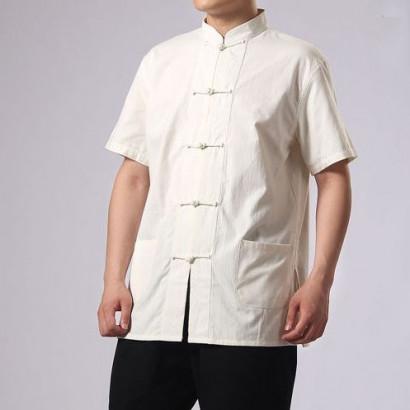 Veste Kung Fu manches courtes en coton épais naturel