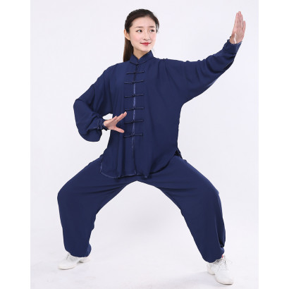 Tenue personnalisée de Tai Chi / Wu Dang légère bleu marine