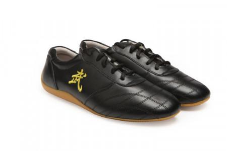 Chaussures Kung Fu en cuir, broderie WU