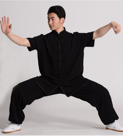 Tenue Chang Quan Kung Fu/Tai Chi été en coton et soie imitation manches courtes