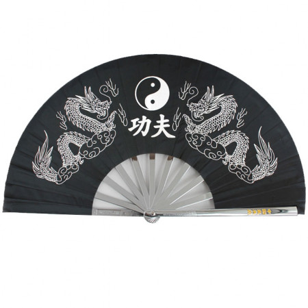 Éventail Tai Chi poids lourd montants en métal, double dragon