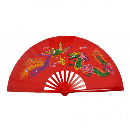 Éventail Tai Chi Grande Taille Dragon et Phénix armatures en bambou